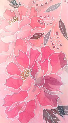 Silk Scarf Handpainted Silk Scarf Women Silk Scarf Floral Pink Silk Chiffon Scarf Peach Pink Peony Scarf 1472 inch Made to order Flower Backgrounds, Wallpaper Backgrounds, Watercolor Flowers, Watercolor Art, Hand Painted Sarees, Floral Rosa, Batik Art, Silk Art, Pink Peonies