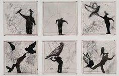 "William Kentridge ""Bird Catcher"", 2006 Charcoal, pastel and ink on paper 6 drawings 40 x 40 cm each William Kentridge Art, South African Artists, Lucian Freud, Gravure, Teaching Art, Bird Art, Les Oeuvres, Art Drawings, Contemporary Art"