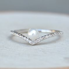 Engagement: Chevron V Pearl Ring - Silver - The Faint Hearted Jewelry