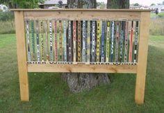 Head board made with hockey sticks...