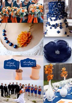 Navy and Orange wedding
