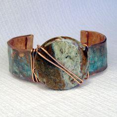 Golden turquoise copper cuff  https://www.etsy.com/listing/116257371/golden-turquoise-patina-copper-cuff