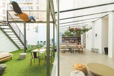 #hublisbonpatio Lisbon Portugal, Travel Maps, Hostel, Loft, Patio, Cool Stuff, Bed, Home Decor, Decoration Home