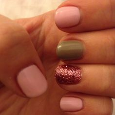 Pink , grey , sparkle shellac nails ! Love ! (I think I'd like the sparkle to be silver or gold)