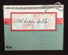 Scrappy Hour: A Happy Hello - February Stamp of the Month Blog Hop - like the use of second generation stamping for the background