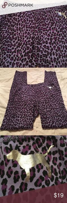 PINK pajama bottoms in purple leopard print 95% cotton 5% spandex long underwear style. Purple and black print with silver mascot on left hip. So cute! Size small/petite. No signs of wear. EUC from a smoke free home. PINK Victoria's Secret Intimates & Sleepwear Pajamas