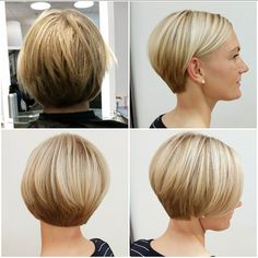 "Before and after - neatly tidied-up graduated bob (""All sizes 