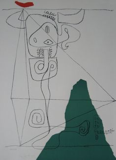 LE CORBUSIER (1887-1965) TAURUS I 1954/59/64  LITHOGRAPH HANDSIGNED AND NUMBERED EDITION 150 CERTIFIED BY HEIDI WEBER 72 X 54 CM / 28 3/8 X 21 2/8 IN. LITERATURE: LE CORBUSIER – THE GRAPHIC WORK, PAGE 80