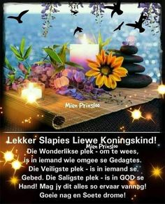 Evening Greetings, Afrikaanse Quotes, Good Night Blessings, Goeie Nag, Good Night Quotes, Sleep Tight, Day Wishes, Prayers, Prayer Board