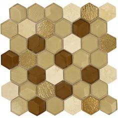 Honey Harvest Hexagon Gold Glossy Glass & Stone Tile