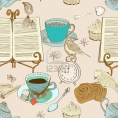 vintage morning tea background  seamless pattern for design, illustration