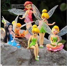 6pcs/Set Christmas, Halloween Kids Gift Tinkerbell Dolls Flying Flower Fairy Children Animation Educational Cartoon Toys BabyToy