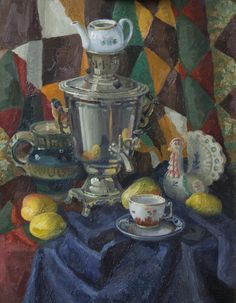 Stillife with samovar. Oil painting,