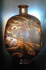 Superb Emile Galle antique enamel 'libellule' Art Nouveau bottle and stopper.