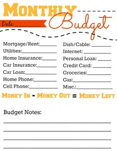 Budget  Budgeting Form  Spreadsheet With BuiltIn Calculator