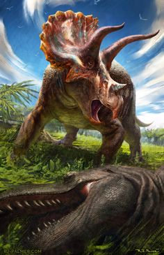 Triceratops and Tyrannosaurus by RJ Palmer Dinosaur Art, The Good Dinosaur, Prehistoric Creatures, Mythical Creatures, Rj Palmer, Dinosaur Wallpaper, Dinosaur Pictures, Jurassic Park World, Extinct Animals