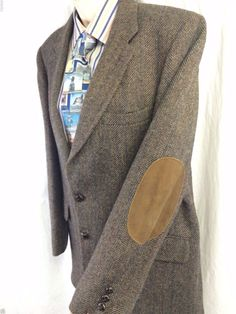 Stafford Mens Sport Coat Size 42 Dark Brown Herringbone Elbow Patches Pure Wool #Stafford #TwoButton
