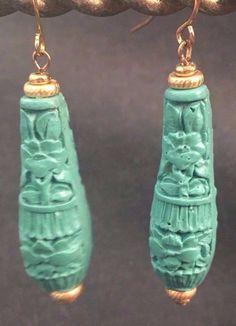 Vintage Hand Carved Teal Green Teardrop Cinnabar Earrings  Last Pair!  (b126) | Jewelry & Watches, Handcrafted, Artisan Jewelry, Earrings | eBay!