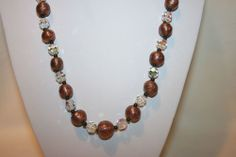VTG LONG STRAND BEADED NECKLACE HAS SPARKLY COPPER BEADS & CLEAR CRYSTALS $35.00