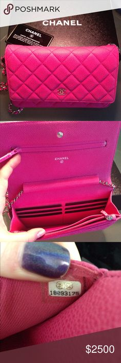 Chanel Limited Edition Fuchsia WOC Chanel Fuchsia WOC with silver hardware. 100% Authentic. Comes with box, dust bag and card. Slightly used.. Perfect condition. No signed of wear. CHANEL Bags Crossbody Bags