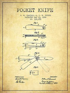 Pocket Knife Poster featuring the drawing Pocket Knife Patent Drawing From 1886…