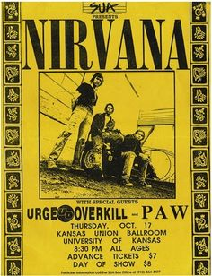 Flyer of the Nirvana concert at KU Ballroom, University of Kansas, Lawrence, KS, USA on October 17, 1991 from the Nevermind Tour.