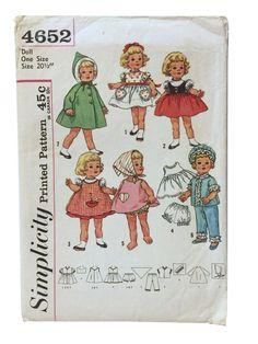Patron de couture vintage simplicité 4652, patron de vêtements de poupée pour Cathy bavarde, modèle de robe de poupée, poupée armoire modèle, vêtements de poupée bricolage