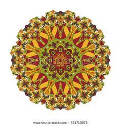 Mandala. Oriental pattern. Turkey, Egypt, Islam. Traditional round ornament. Doodle drawing. Relaxing picture. Red and orange tone