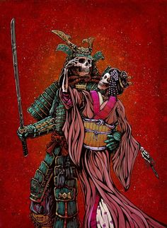 The skeleton samurai warrior and his geisha lady love stand united against their enemies in this painting by Day of the Dead artist David Lozeau. Geisha Samurai, Ronin Samurai, Samurai Warrior, Fantasy Anime, 3d Fantasy, Samurai Artwork, Skeleton Art, Samurai Tattoo, Yakuza Tattoo