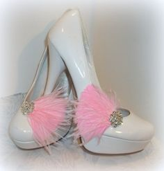 Bridal Feather Shoe Clips  set of 2  Sparkling by ShoeClipsOnly, $34.00