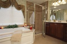 Master bathroom with large tub and glass corner shower