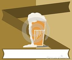 Illustration representing a stylized glass of beer on a colorful background. An idea to talk about this beverage.