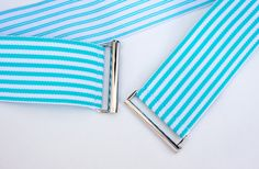 aqua and white striped belt by Cinched Belts. Proudly made in Canada. Loose Tops, Spring Colors, Aqua, Outdoor Blanket, Belts, Canada, Loose Tank Tops, Water