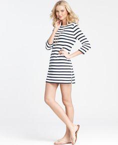 Ann Taylor Garden Stripe Zip Side Coverup