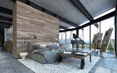 Modern steel and glass dwelling in the Colorado mountains