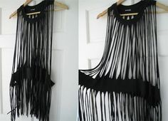 DIY Dress-Up: 13 Totally Doable Eco-Fashion Projects - WebEcoist - Created from a T-shirt DIY-fashion-pocahontas-fringe-top (webecoist) Source by - Diy T Shirt Dress, Diy Dress, Diy Shirt, Dress Up, Dress Shirts, Cheap Dress, Fringe Shirt, Fringe Dress, Diy Clothes Refashion
