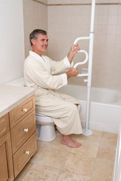 Security Pole & Grab Bar by Standers tension mount transfer aid for small spaces