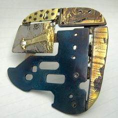 Colin Duncan -     recycled mixed metal art jewelry - brooch
