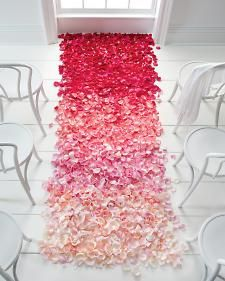 Ombre wedding aisle flower petals - LOVE! Would love to do this in subtle shades of cream to white.