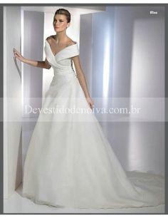 Real Decote em V Linha-A /Princesa Organza Vestidos de Noiva