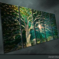 "Original Abstract Metal Wall Art Modern Handmade Painting Sculpture Indoor Outdoor Decor ""Tree Soul"" by Ning"