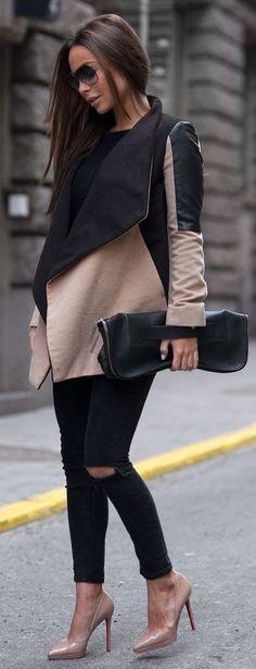 Black And Blush Paneled Wrap Coat
