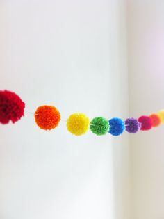 Rainbow Yarn Pom Pom Garland - pom poms, handmade pom poms for Party Decor, Banners, Buntings and Photo Props