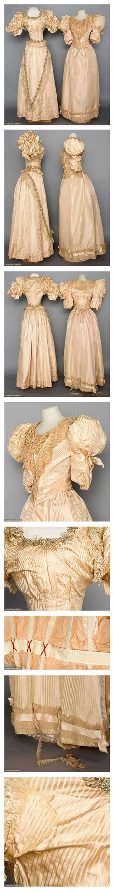 """TWO LADIES' GOWNS, c. 1895 Both 2-piece light pink satin w/ figured stripes, short puff sleeves, lace trim: 1 w/ labeled petersham """"Elenore Lelong, 32 Rue Mignon Paris"""", (brown drip stain on skirt front, skirt tear) fair; 1 w/ metallic skirt & bodice trim, (underarm tears) fair; t/w 3 pieces young ladies' white underwear c/o 2 petticoats & 1 step-in, excellent. Augusta Auctions."""