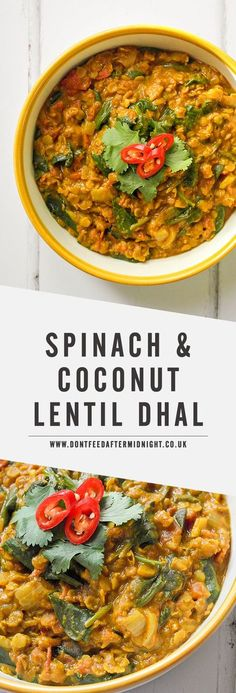 Spinach & coconut lentil dhal Alicia says -- a little too weird for Justin, and probably not a kid favorite Lentil Recipes, Veg Recipes, Curry Recipes, Indian Food Recipes, Whole Food Recipes, Vegetarian Recipes, Dinner Recipes, Cooking Recipes, Healthy Recipes