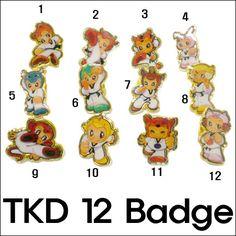 Korea Martial Arts TKD TaeKwonDo 12animal badges+Board sports gym accessoriesF/S