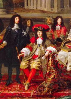 Louis XIV, roi de France, avec son frère Philippe, duc d'Orléans (en rouge, à droite) et Colbert (en noir, à gauche), par Testelin