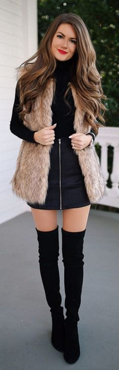 #Winter #Outfits / Faux Fur Vest - Straight Navy Blue Skirt
