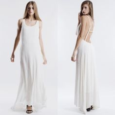 """X """"Rendezvous"""" Backless Maxi Dress Strappy backless maxi dress. Oh so gorgeous! Beautiful and flowy! Dress is lined so not at all transparent. Available in navy and ivory. This listing is for the IVORY. Brand new with tags. True to size. PRICE FIRM. NO TRADES. Bare Anthology Dresses Maxi"""