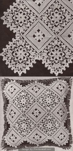 Crochet lace bedspread sqaures (block placement inspiration only, no pattern)